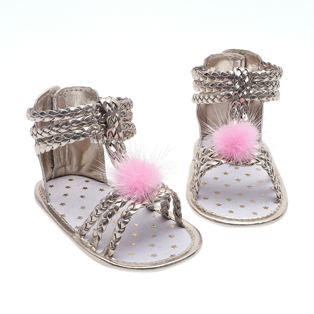 YiDing Baby Girls Hairball Decor Sandals Leather Soft Sole Infant Girls Summer Sandals