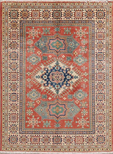 (5' X 7' Geometric Red Super Kazak Pakistan Oriental Area Rug Hand-Knotted Carpet )