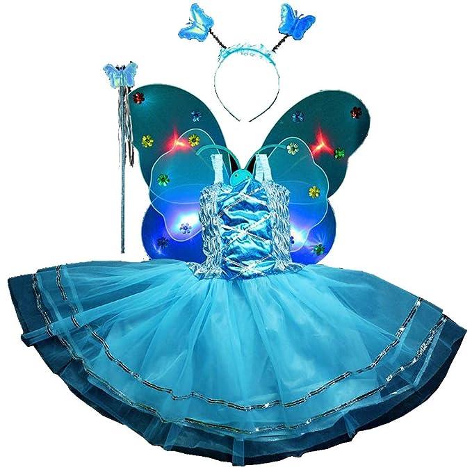 Amazon.com: Disfraz de hada, 4 piezas, vestido de princesa ...