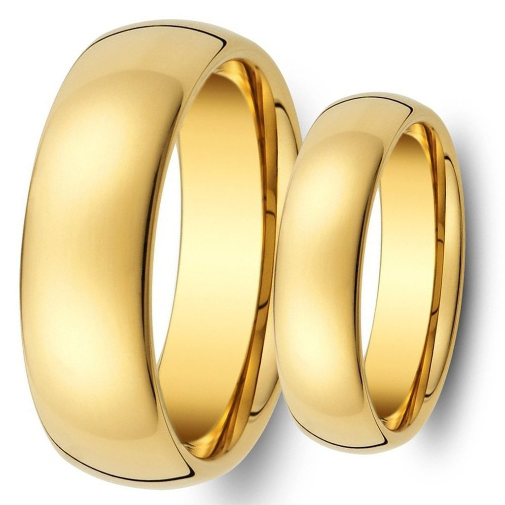 His & Her's 8MM/6MM Tungsten Carbide Shiny Gold Classic Wedding Band Ring Set