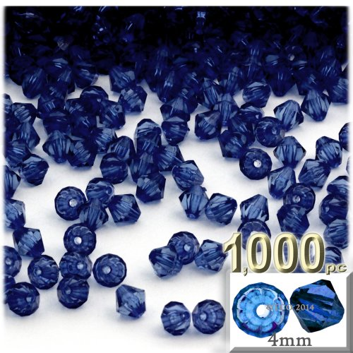 The Crafts Outlet, 1,000-pc Acrylic Bicone Beads, Faceted, 4mm, Royal Blue