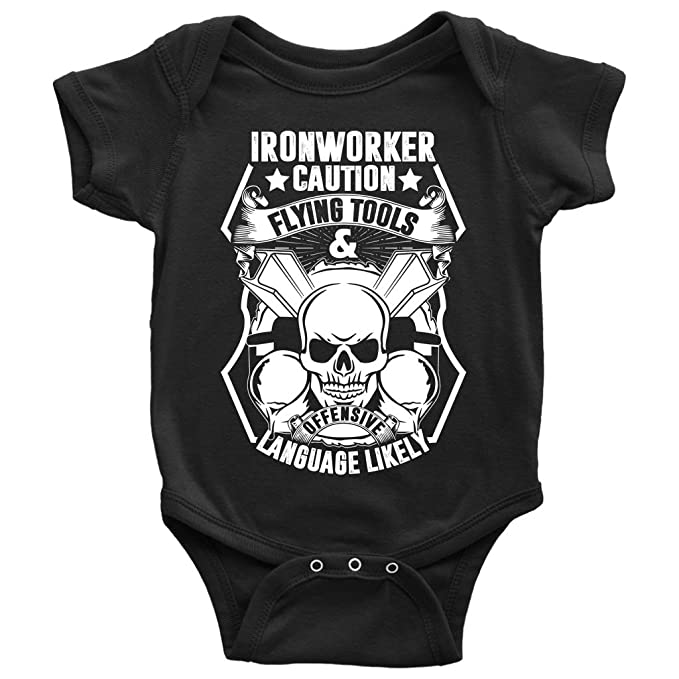 Amazon com: Ironworker Caution Baby Bodysuit, Flying Tools