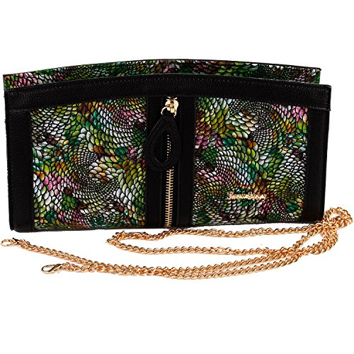 Snake Pattern Design (Show Story Women's Girls Punk Green Colorful Snake Pattern Design Fashion Outdoor Evening Clutch Handbag Bag,FB90021GR, Green)