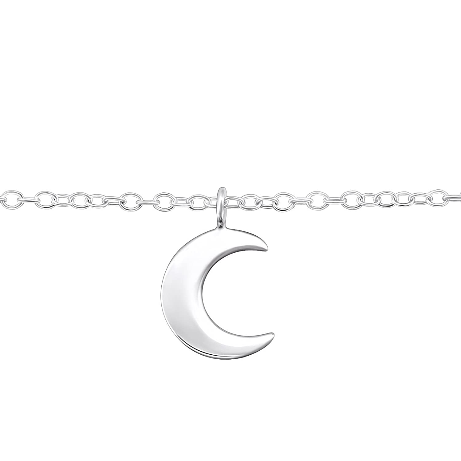 The Rose & Silver Company Women 925 Sterling Silver Moon Anklet 25cm / 9.8 RS0727