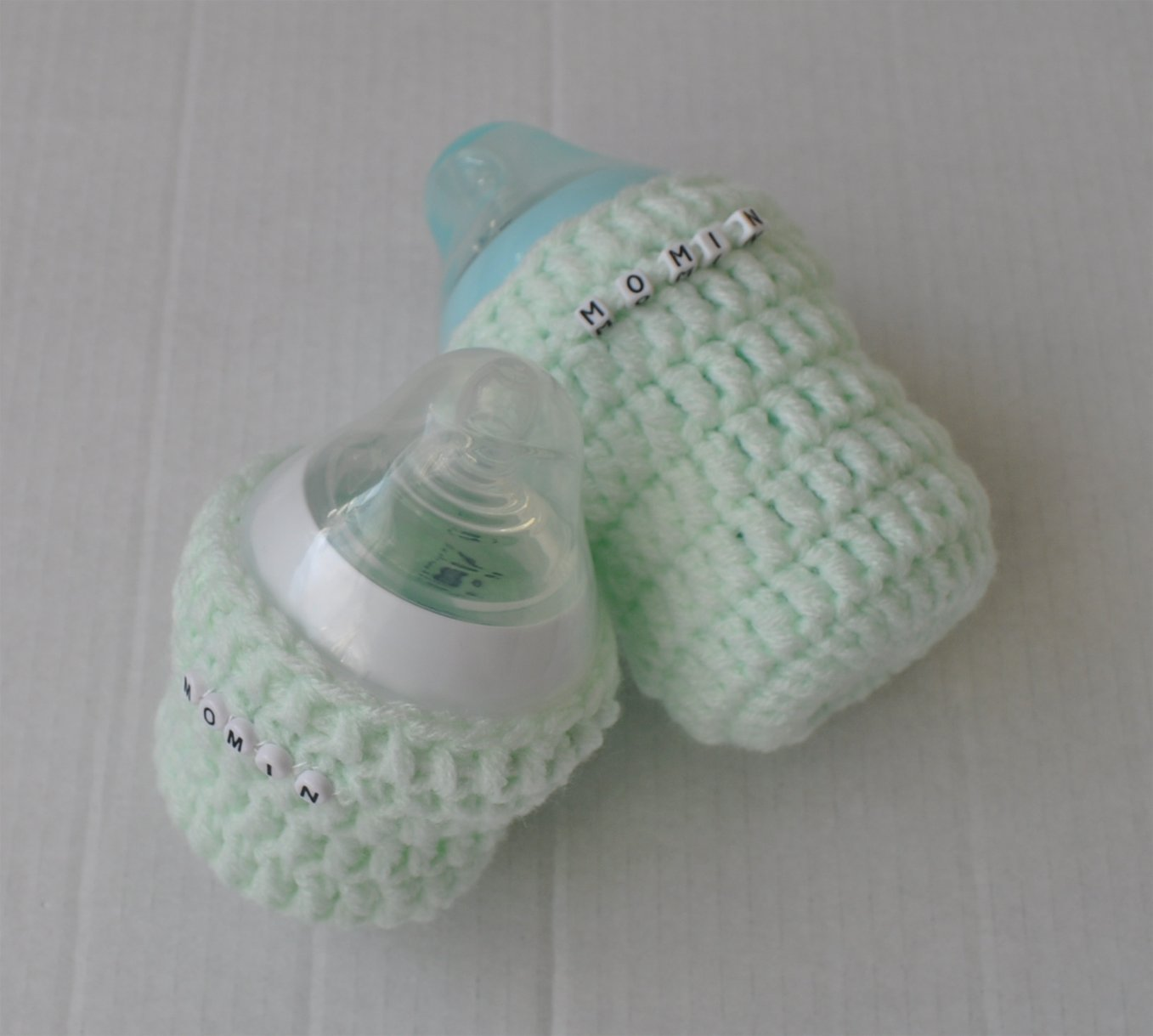Crochet baby bottle cover with an option for personalisation: Amazon ...
