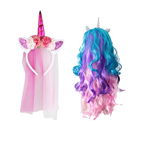 sempre popolare originale moda di lusso Unicorno corno con Multicolore Rainbow Velo Costume ...