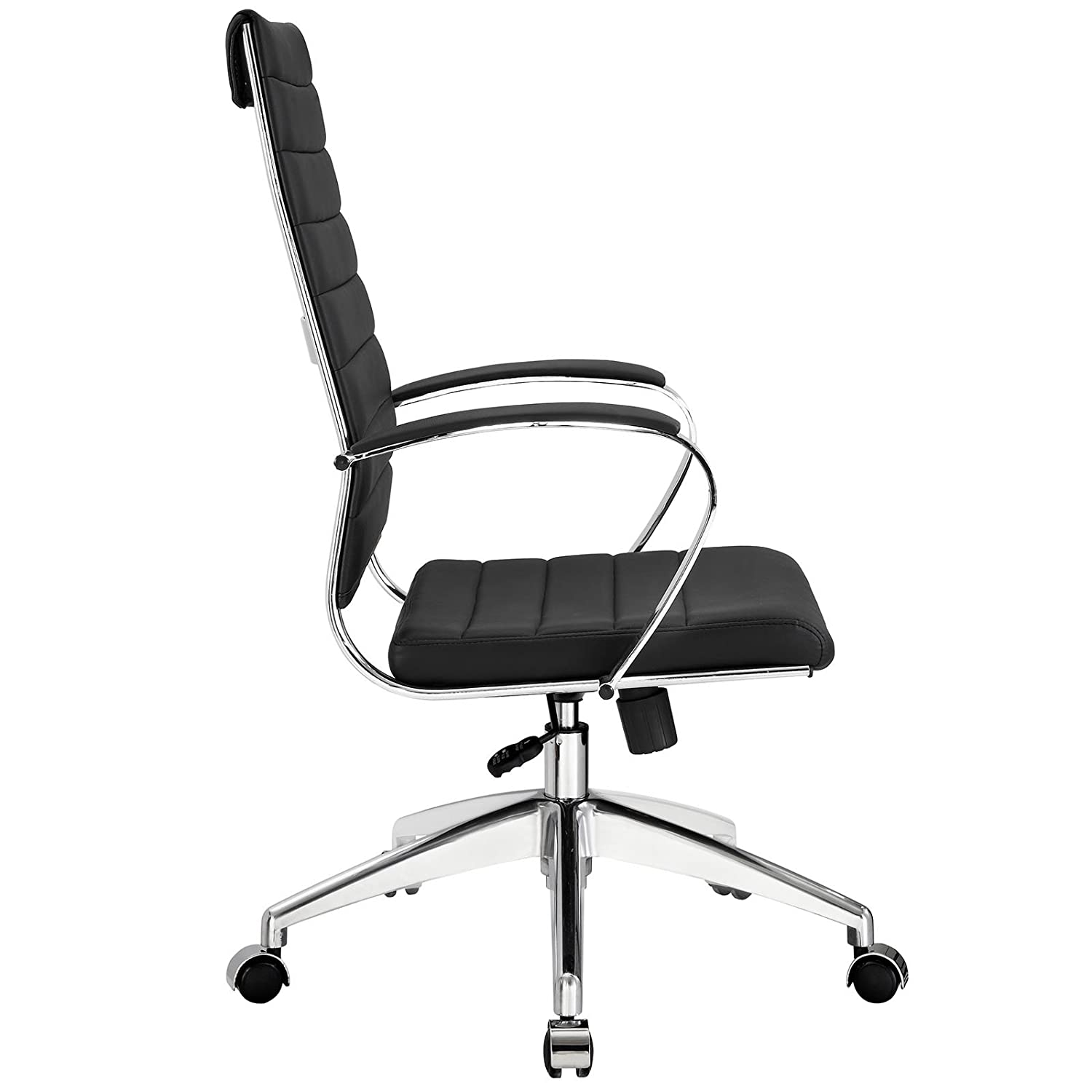 High office chair - Amazon Com Modway Jive Ribbed High Back Executive Office Chair Black Vinyl Kitchen Dining