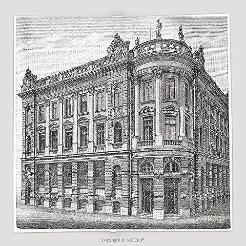 Custom Bank In Munich Germany Vintage Illustration Illustration From Meyers Konversations Lexikon 94578598 Soft Fleece Throw (Meyers Lexikon)