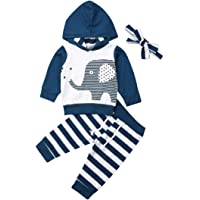 Bowanadacles Baby Boy Girl Clothes Autumn Winter Outfit Newborn Elephant Hooded Tops Hoodie Pants Clothing Set