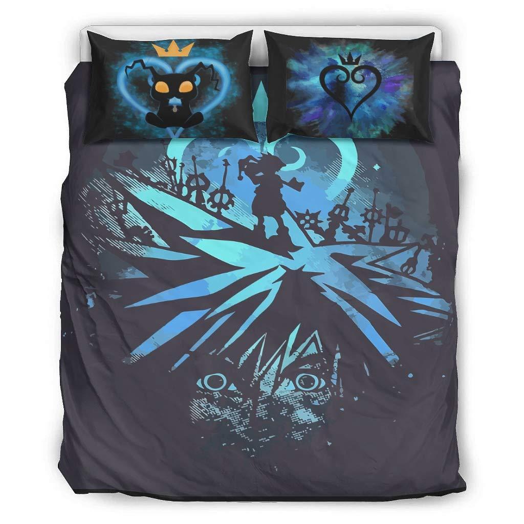 LAFROABC 3 Piece Breathable Soft Bed Twin Set, Kingdom Hearts Sora Printed Sheet Set White 229x229cm