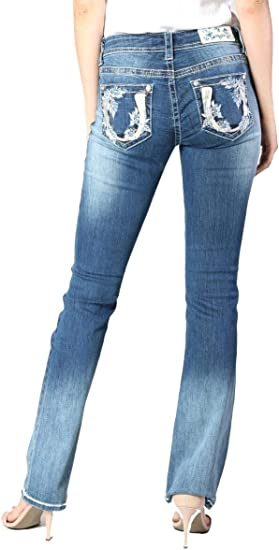 Womens GRACE IN LA Bootcut Jeans Colored 4 Pocket Trim CUTE Paisley Embroidery