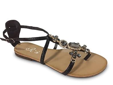 Schuhtraum Damen Zehentrenner Sandalen Glitzer Nieten Sandaletten (37, ST561 Silber)