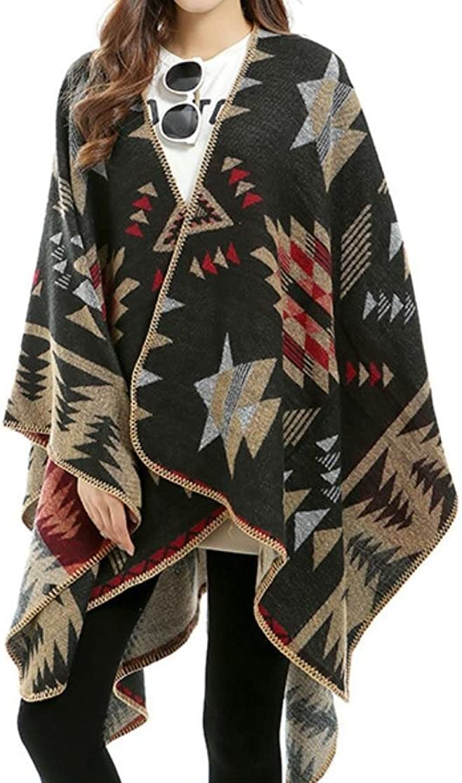 BabyYoung Women Shawl Irregular Cloak Novelty Printed Outwear Outdoor Coats