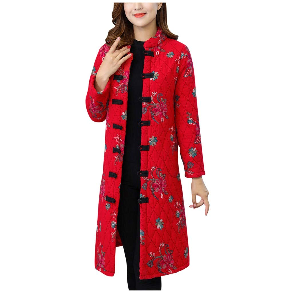Yanvan Elderly Women Outwear Special Button Printing Design Cozy Leisure Warmr Winter Long Coat by Yanvan