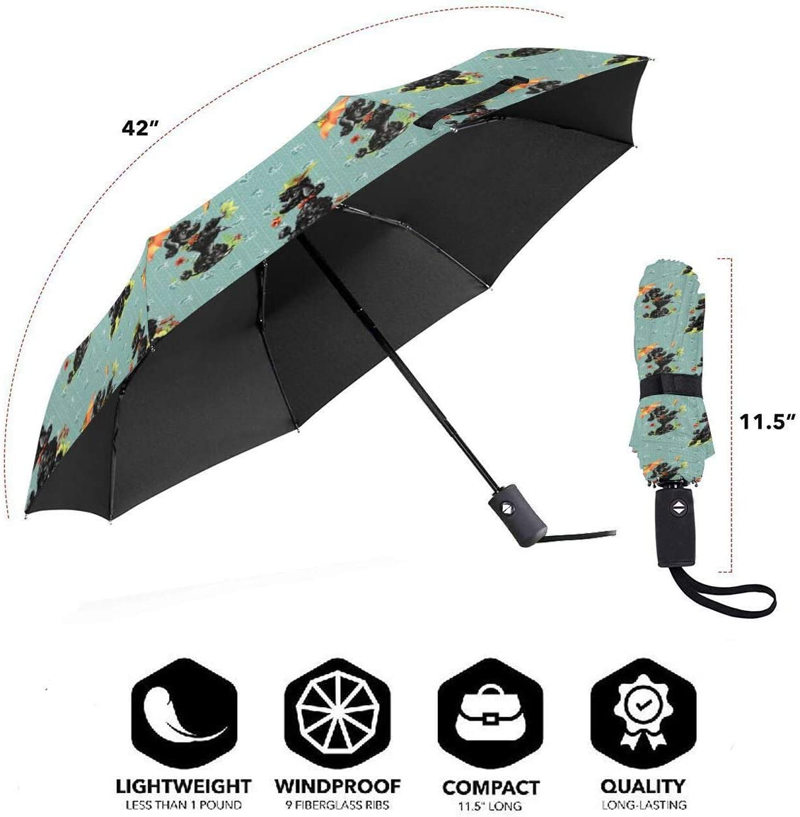 Prissy Poodles Green Compact Travel Umbrella Windproof Reinforced Canopy Ergonomic Handle Auto Open//Close Multiple Colors