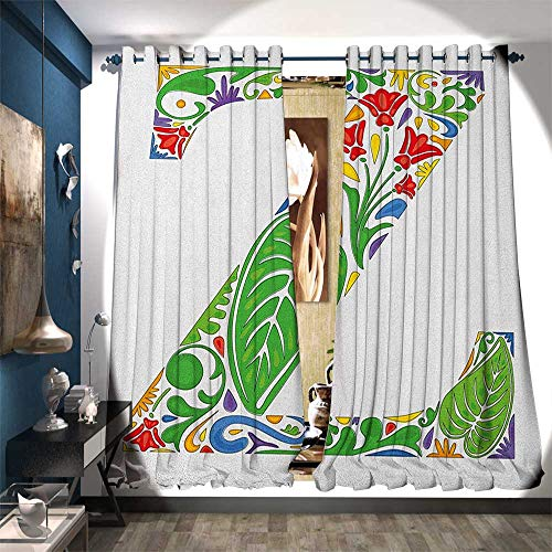 Blackout Window Curtain Floral Alphabet Typography Font Design Nature Inspired Z Summertime Garden Theme Blackout Draperies for Bedroom W84 x L84 Multicolor
