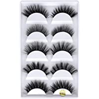 Xinjieda 5 Pairs 3D Eyelashes Long Thick Soft Artificial Fake Eye lashes for Women Eye Makeup, F810