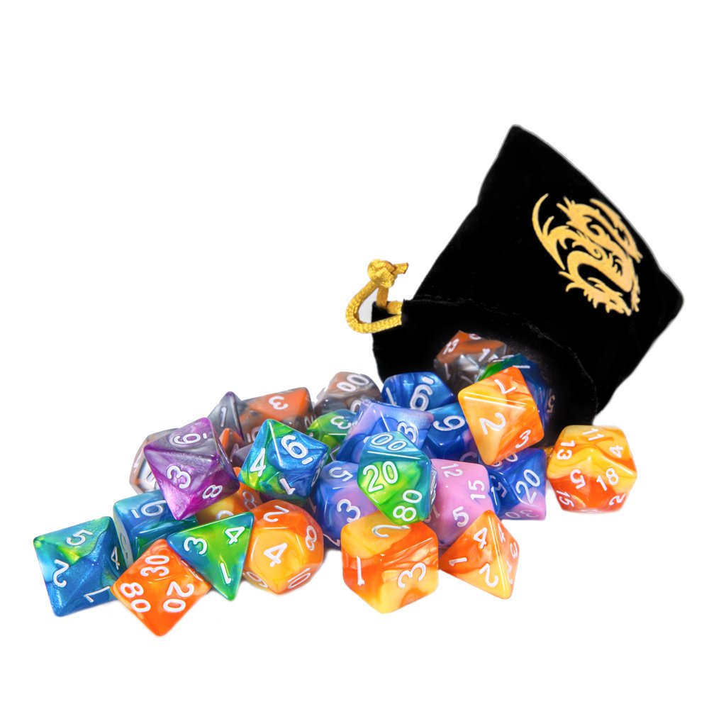 CiaraQ DND Dice Set, Polyhedral Dice Set, Dungeons and Dragons Dice Set for D&D Dice Games RPG MTG Table Games with Drawstring Pouch. Double-Color Dice, 6 Set 42 Pieces by CiaraQ (Image #5)