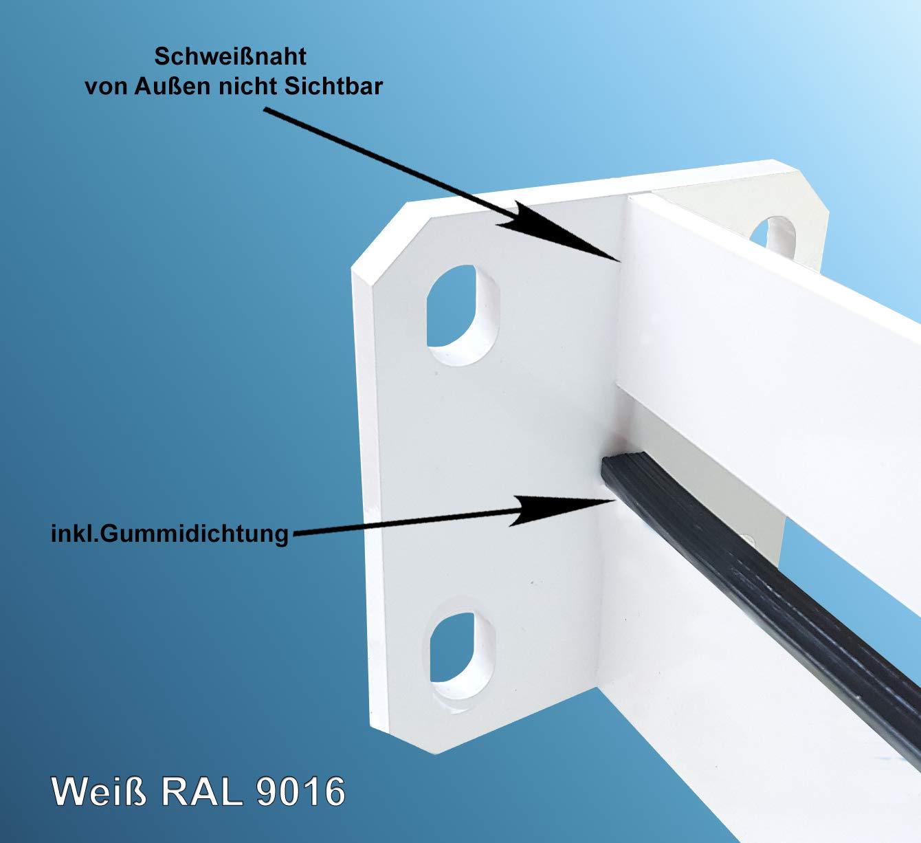 1 St/ück Vordach Vordachtr/äger Vordachhalter Model Eckig Tr/äger Wei/ß Weiss RAL 9016