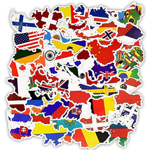 50pcs Flags Sticker Sticker of International Worldwide by Country Children Adult Teens Teacher Toddlers Water Bottles Laptop Car Travel Luggage Suitcase Skateboard Decal (National Flag)