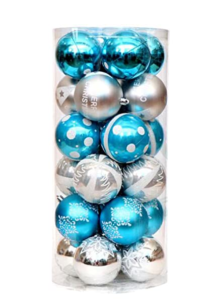 Disegni Di Palline Di Natale.24 Pezzi 60 Mm Palline Di Natale Novita Stile Colorato Disegno