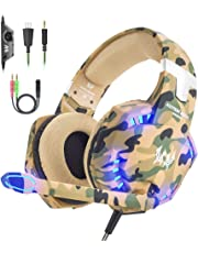 VersionTECH. Gaming headset for PS4 Xbox One PC Headphones with Microphone LED Light Noise Cancellation Over Ear Compatible with Nintendo Switch  Games Laptop Mac (Camouflage)