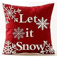 Andreannie Beige Marfil Sombra Varios hermosos copos de nieve Deje que nieva en rojo Casa nueva Decorativa Lino de algodón Funda de almohada Cojín Cuadrado 18 X 18 pulgadas