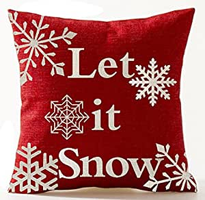 Beige Ivory Shadow Various Beautiful Snowflakes Let It Snow In Red Christmas Gifts New Home Room Decorative Cotton Linen Throw Pillow Case Cushion Cover Square 18 X 18 Inches
