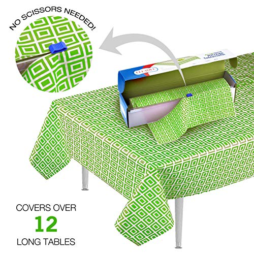 Clearly Elegant Green Disposable Plastic Table Cloth Roll (52 Inches x 98 Feet) Tablecloth with Self Cutter Box | Premium Indoor & Outdoor Table Cover for Party Supplies, Kitchen Table & Picnics
