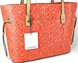 New Calvin Klein Signature Logo Purse Hand Bag Tote Genuine Orange Multicolor Leather