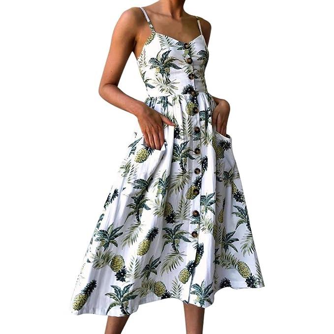 4a8d9a938b Vestido de Mujer,Koly Atractivo Vestido Botones de impresión sin Mangas  Elegante Floral de Las Mujeres Top Vestido Elegantes Ropa de Noche Princesa  Vestido ...