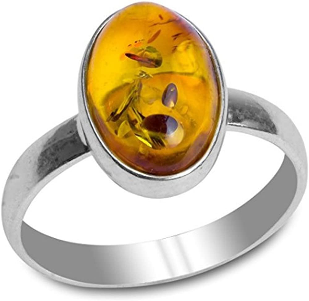 Baltic Amber Sterling Silver Oval Ring Ian and Valeri Co