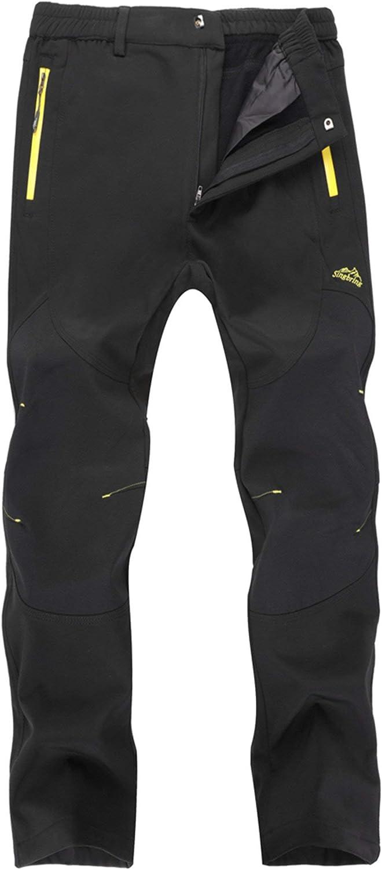 Fleece-M01-Black-M KAISIKE Mens Outdoor Windproof Fleece Lined Hiking Pants Waterproof Snow Ski Pants