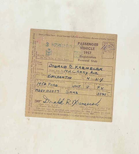 Ford Fv Victoria Original New York Registration Certificate