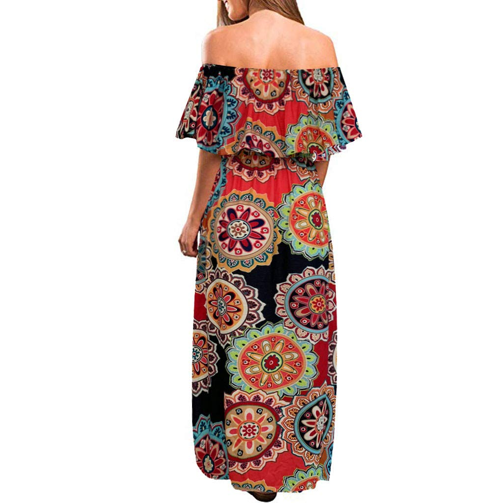 Women Off Shoulder Split Maxi Dress Summer Casual Ruffle Pleated Retro Printed Beach Long Dresses with Pockets (Small, Orange) by LANTOVI Women Dress (Image #2)