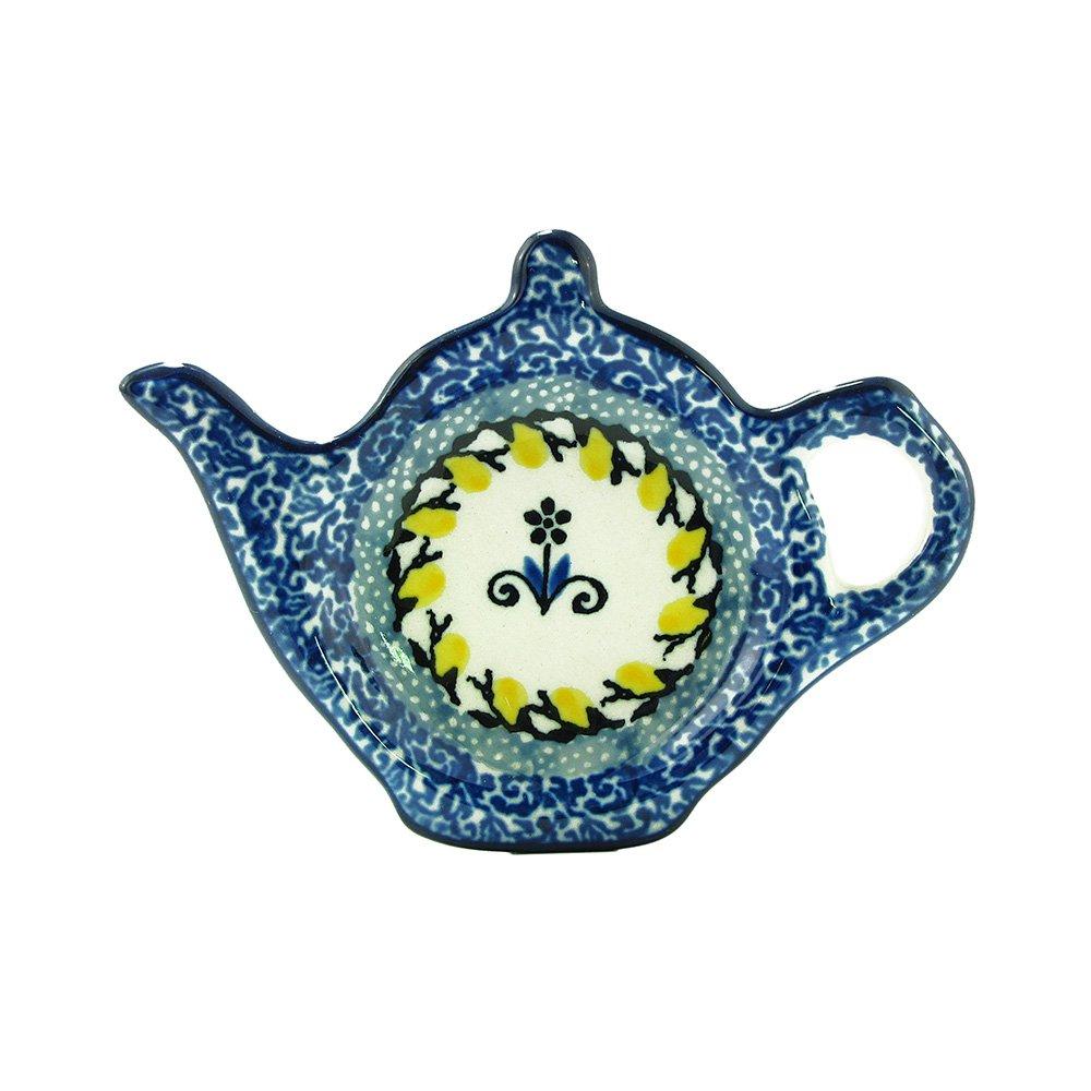Polish Pottery Handmade Teapot Teabag Holder Traditional Stoneware Pattern 766-2004