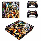 Cosines PS4 Slim Stickers Vinyl Decal Protective Console Skins Cover for Sony Playstation 4 Slim and 2 Controllers Dragon Ball Goku Kuririn Freezer Piccolo VS Street Fighter