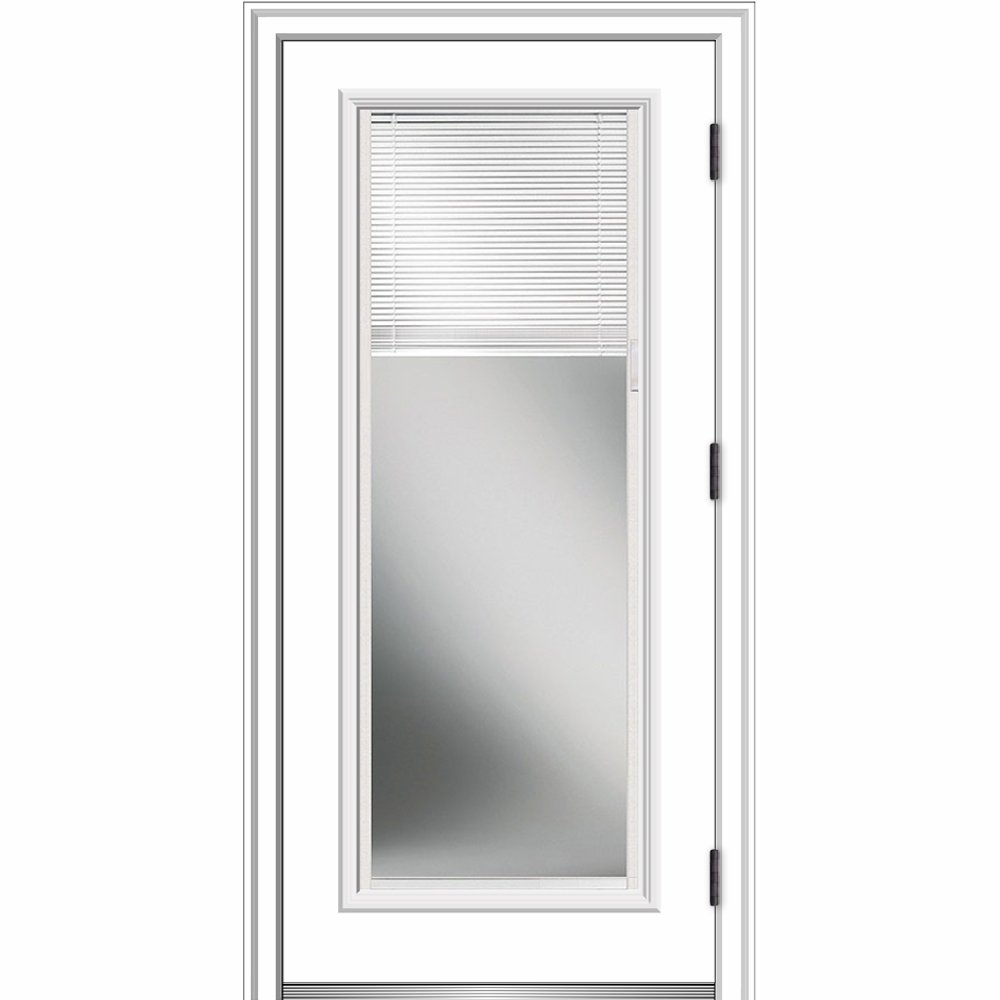 National Door Company ZZ364934L Smooth, Primed, Left Hand Outswing, Prehung Door, Full Lite, Clear Low-E Glass, Internal Blinds, 30'' x 80'', Fiberglass