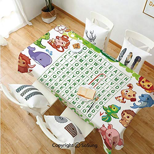 Word Search Puzzle Rectangle Polyester Tablecloth,Educational Game for