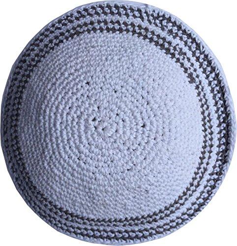 Holy-Land-Market-WhiteGrey-Lines-17cm-DMC-100-Knitted-Cotton-Kippah-Torah-Chabad-Yarmulke