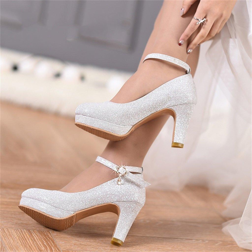 Brautschuhe F/ür Hochzeitsfeier A+ High Heels gr/ö/ße : 41 YANG HONG SHOP JL ZB Damenschuhe 8 cm Hoch Einzelschuhe Brautschuhe