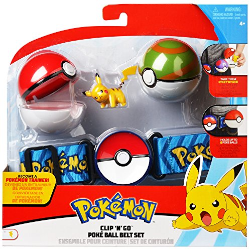Pokemon Clip 'N' Go Poke Ball Belt Set, comes with Poké Ball, Nest Ball and 2 inch Pikachu -