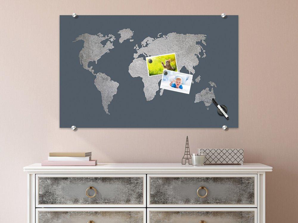 Grazdesign 501910 50x30 Gl Mt Glas Magnettafel Weltkarte In