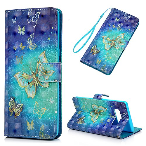 finest selection 13a43 573cb Galaxy Note 8 Case, Wallet Flip Folio Case Kickstand Card Slots Kawaii  Colorful Painting Shiny PU Leather Wallet Shockproof Soft TPU Rubber Bumper  ...