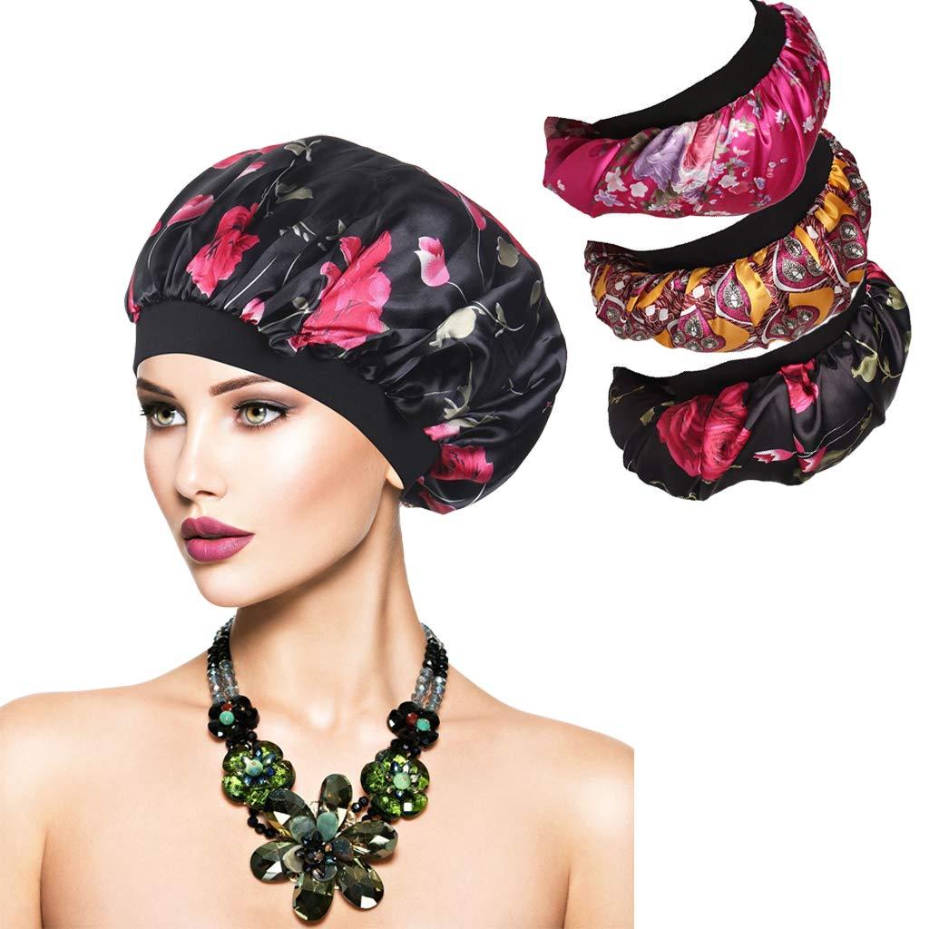 SEVENSTONE 3Pcs Women's Soft Elastic Floral Silk Nightcap Hair Care Cap Chemo Beanie