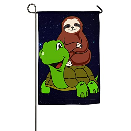 Amazon.com : Sloth Riding Tortoise Garden Flag Printed ...
