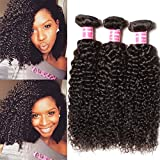 Cheap Longqi Beauty Peruvian Curly Weave Hair 3 Bundles, Peruvian Hair Curly Remy Hair 3pcs Set 100% Virgin Unprocessed Human Hair Extensions Natural Color (8 10 12inch)