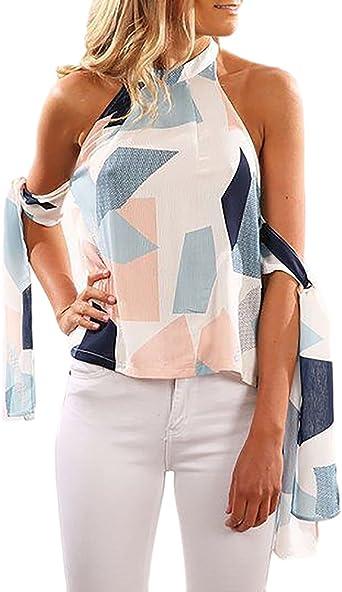 Camisetas Mujer Verano Hombros Descubiertos Sin Espalda Sin Mangas Elegantes Vintage Estampadas Sencillos Diario Casual Blusa Blusas Chalecos Camisas T Shirts Tops: Amazon.es: Ropa y accesorios