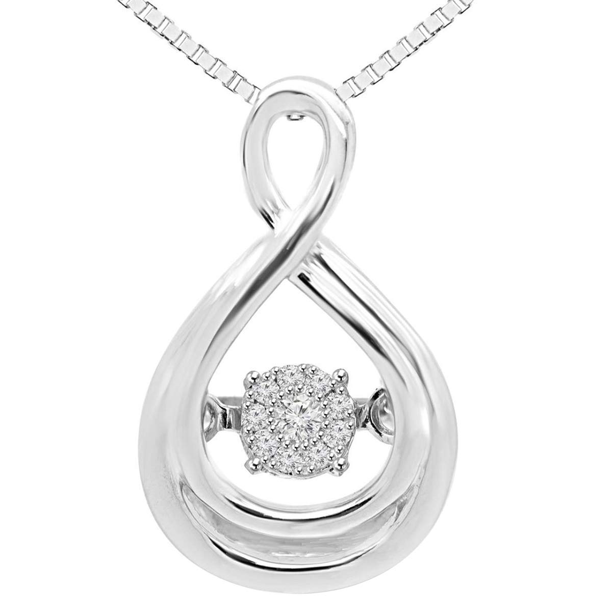 10K White Gold 0.15 Ct Round Cut Simulated Diamond Accents Infinity Pendant With 18 Chain .925 Silver