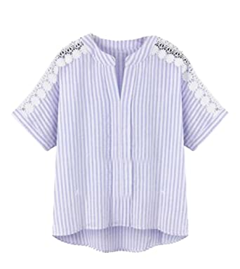 9e97f950ca7 SHOWNO-Women Loose Lace Stitch Plus Size Irregular Hem V-Neck Striped Crop  Top T-Shirt Blouse at Amazon Women s Clothing store